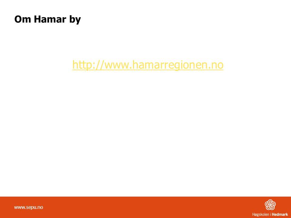 Om Hamar by http://www.hamarregionen.no www.sepu.no