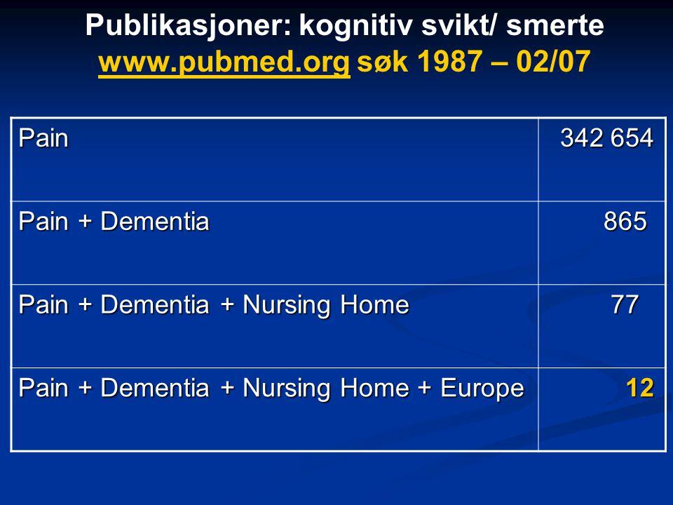 Publikasjoner: kognitiv svikt/ smerte www.pubmed.org søk 1987 – 02/07