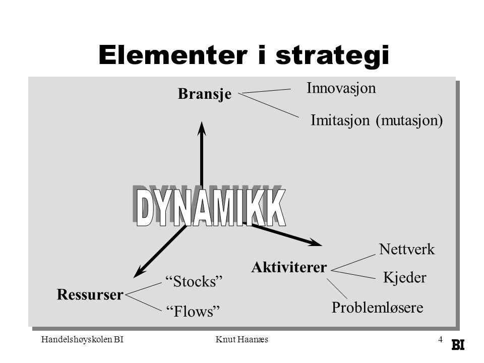 Elementer i strategi DYNAMIKK Innovasjon Bransje Imitasjon (mutasjon)