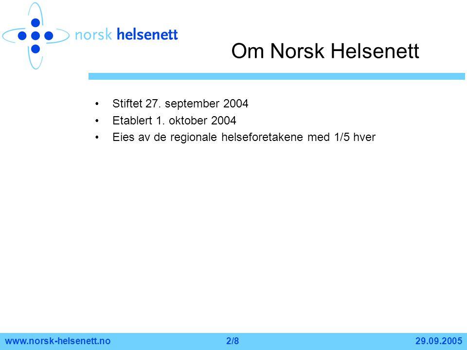 Om Norsk Helsenett Stiftet 27. september 2004 Etablert 1. oktober 2004