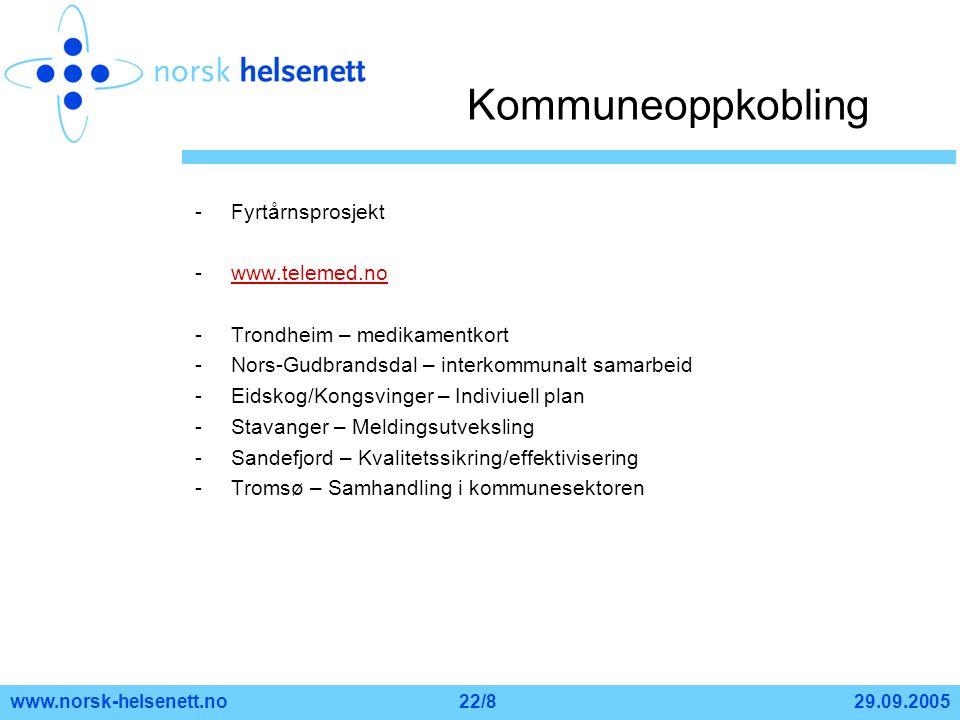 Kommuneoppkobling Fyrtårnsprosjekt www.telemed.no