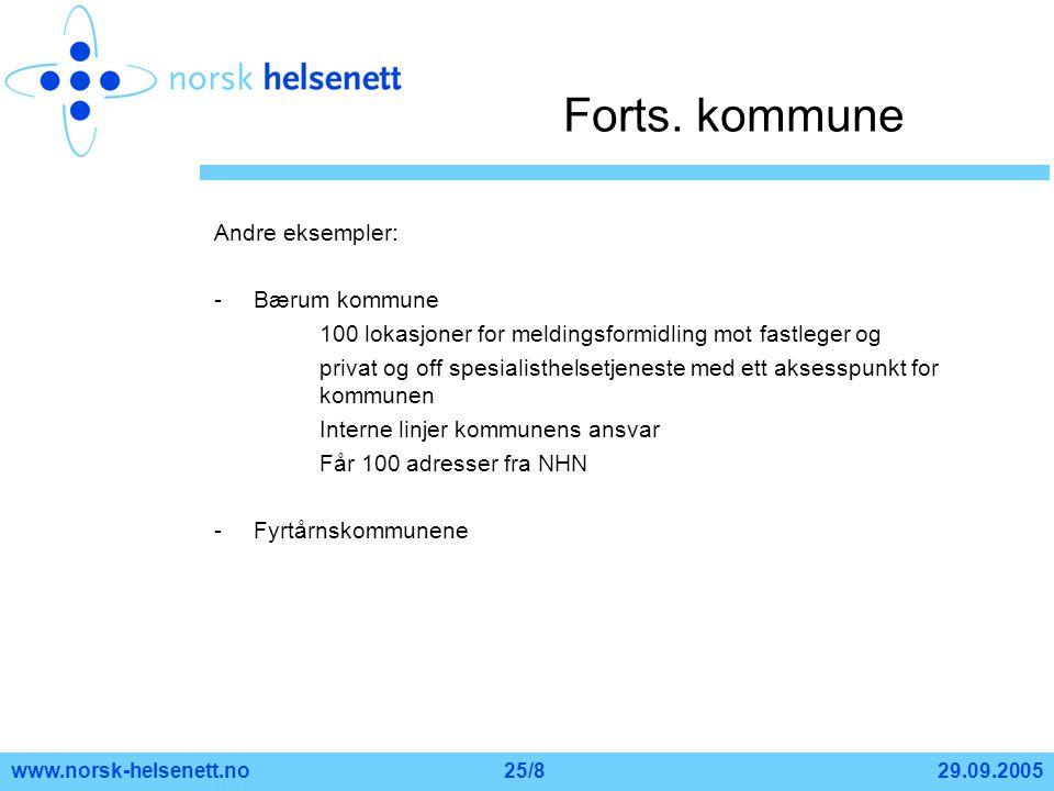Forts. kommune Andre eksempler: Bærum kommune