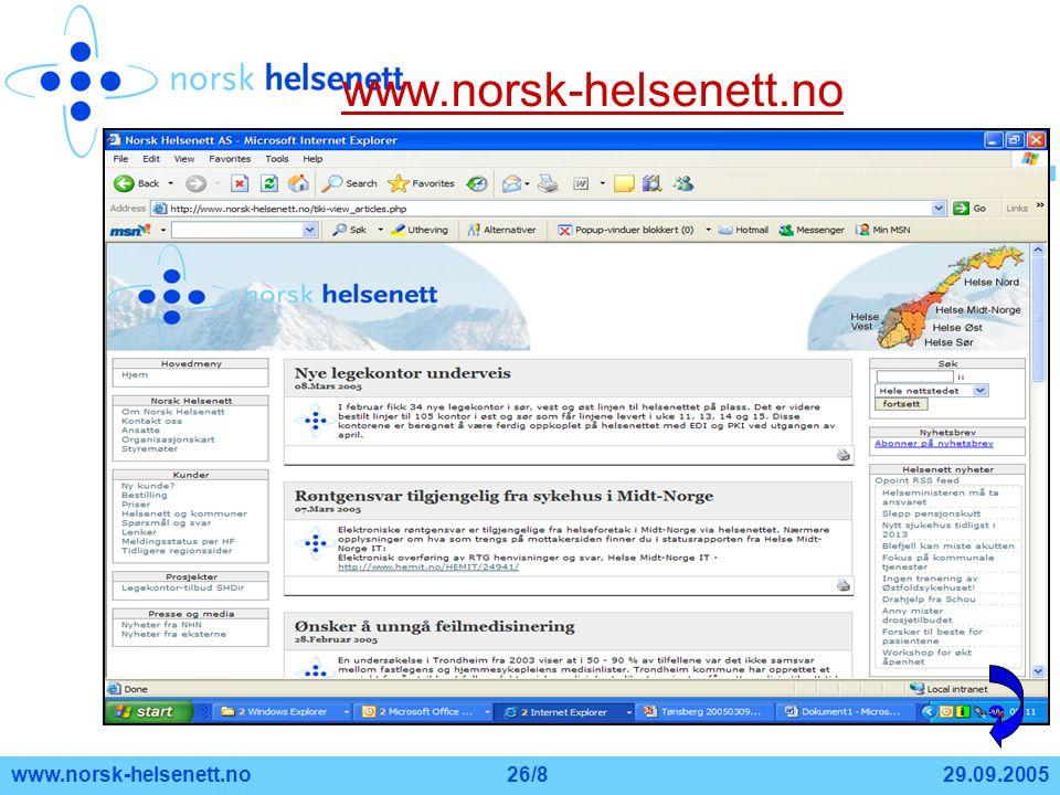 www.norsk-helsenett.no www.norsk-helsenett.no 29.09.2005