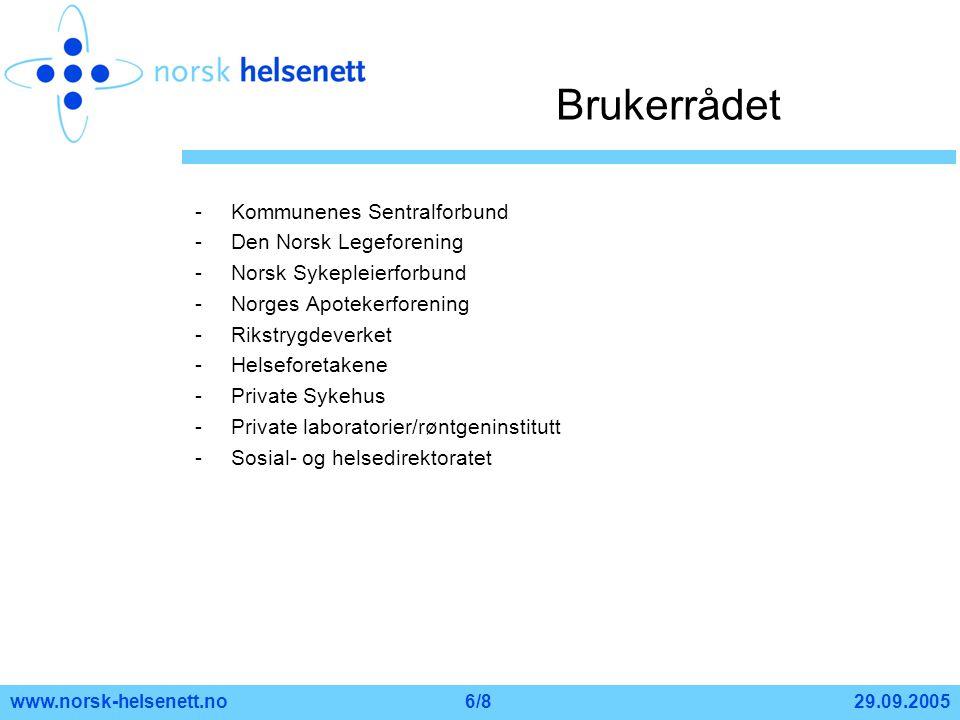Brukerrådet Kommunenes Sentralforbund Den Norsk Legeforening