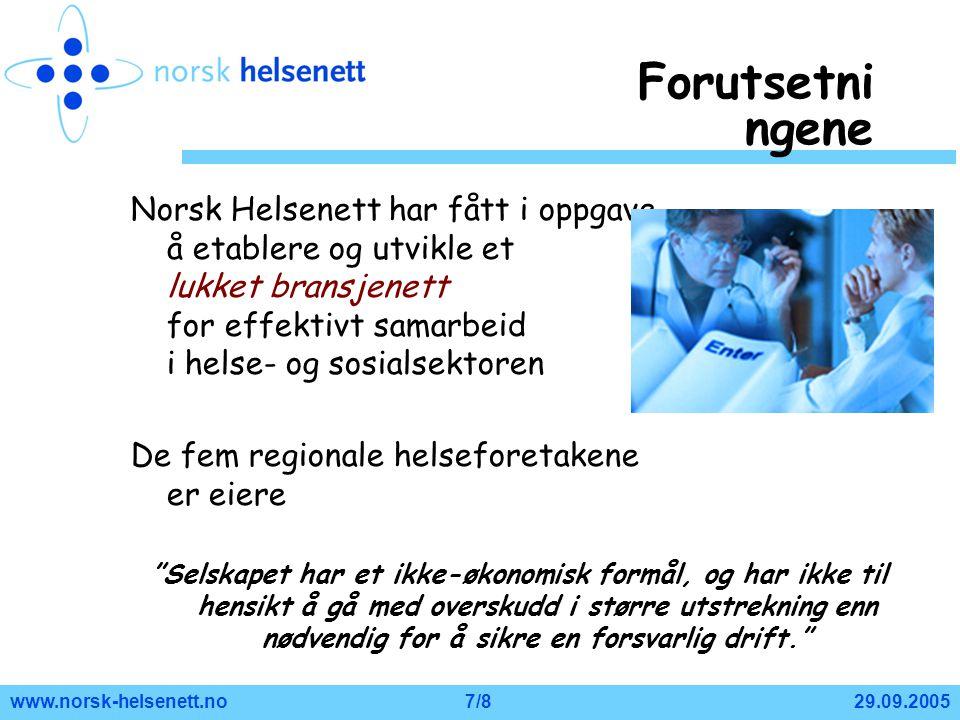 Forutsetningene Norsk Helsenett har fått i oppgave å etablere og utvikle et lukket bransjenett for effektivt samarbeid i helse- og sosialsektoren.