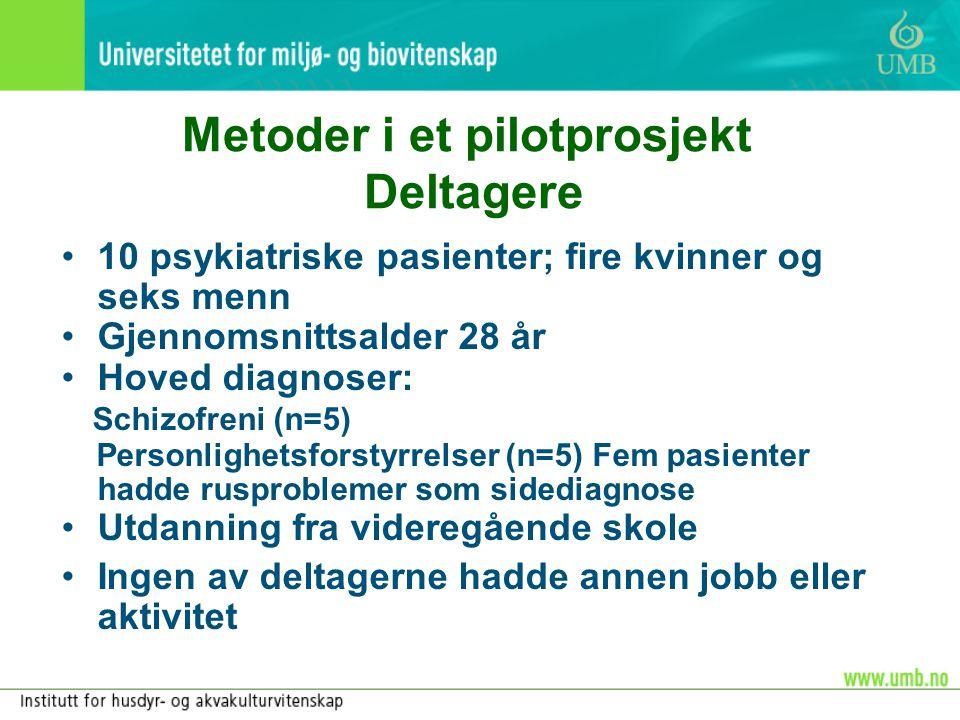Metoder i et pilotprosjekt Deltagere