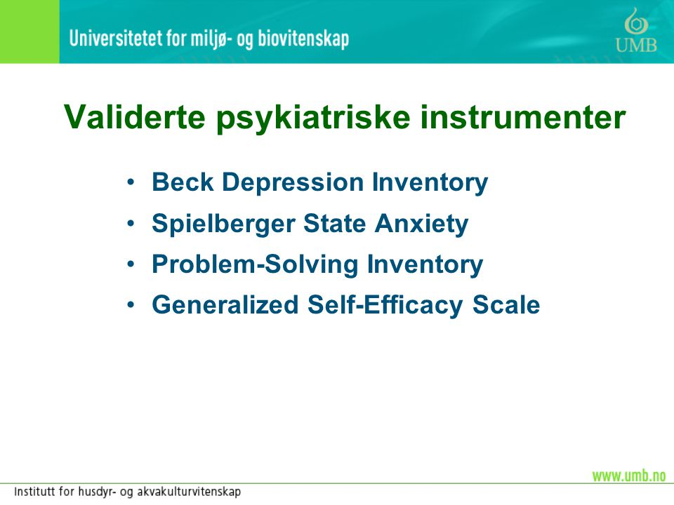Validerte psykiatriske instrumenter