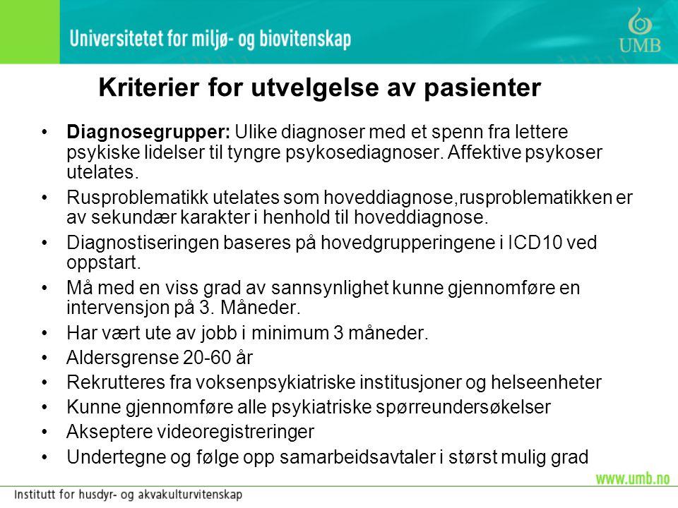 Kriterier for utvelgelse av pasienter