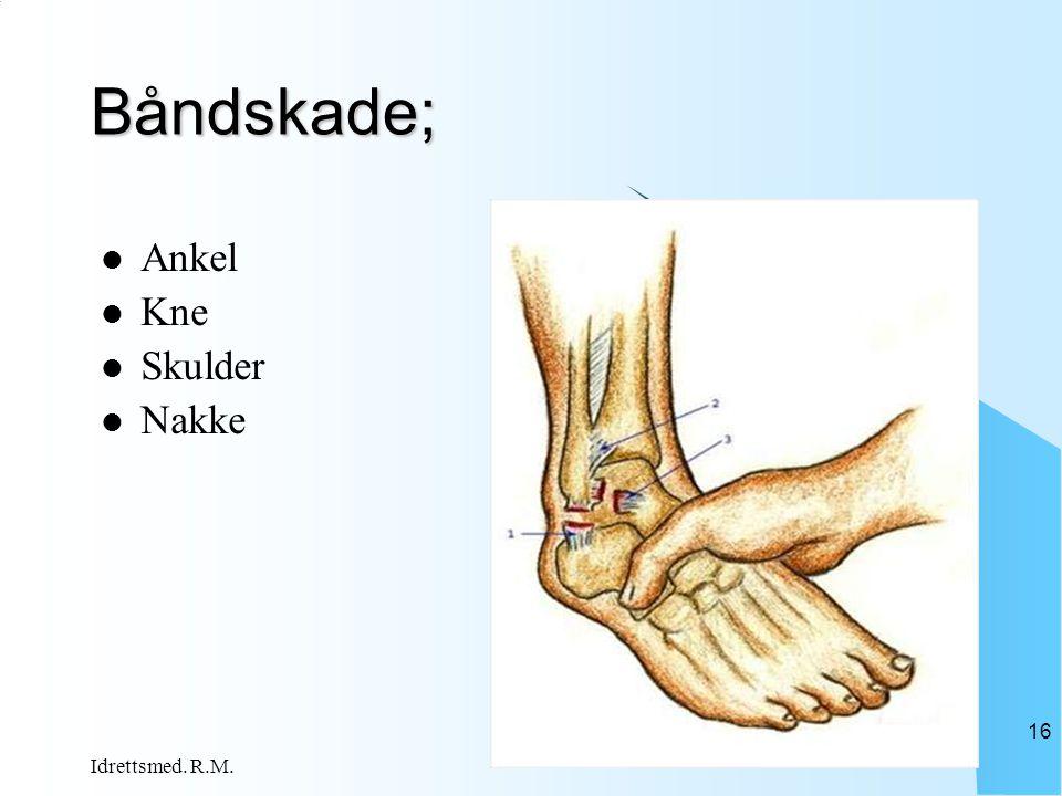 Båndskade; Ankel Kne Skulder Nakke Idrettsmed. R.M.