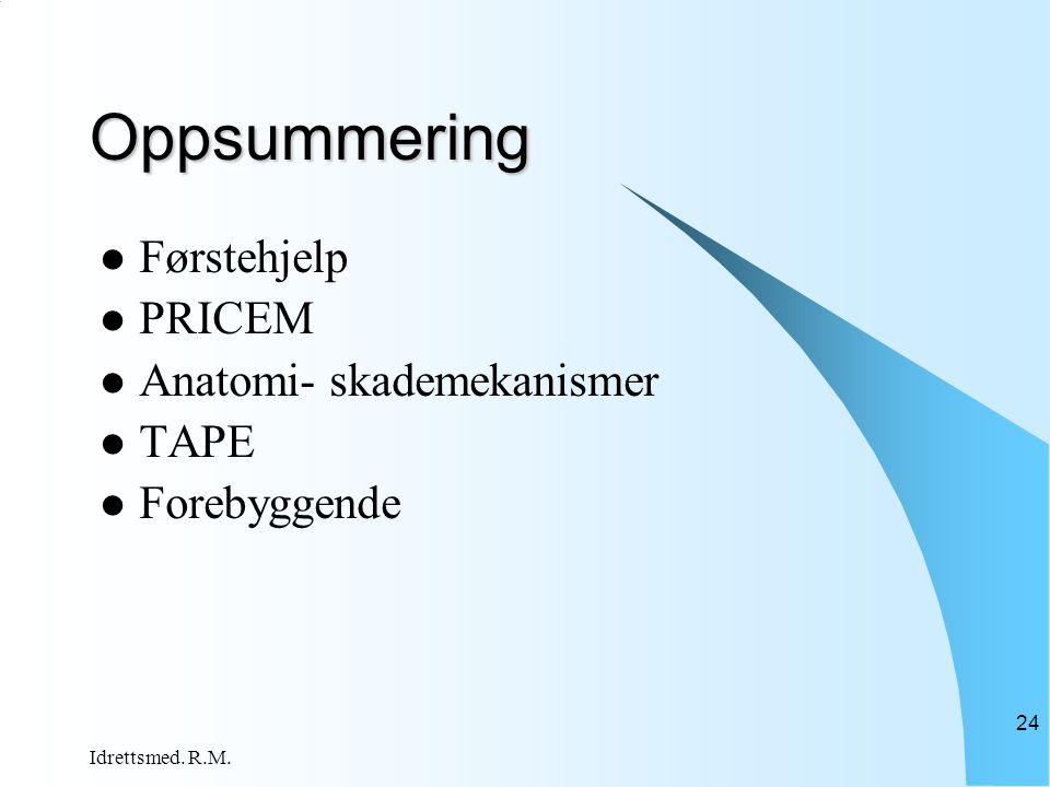 Oppsummering Førstehjelp PRICEM Anatomi- skademekanismer TAPE