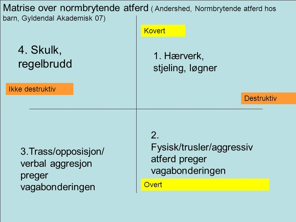 Matrise over normbrytende atferd ( Andershed, Normbrytende atferd hos barn, Gyldendal Akademisk 07)