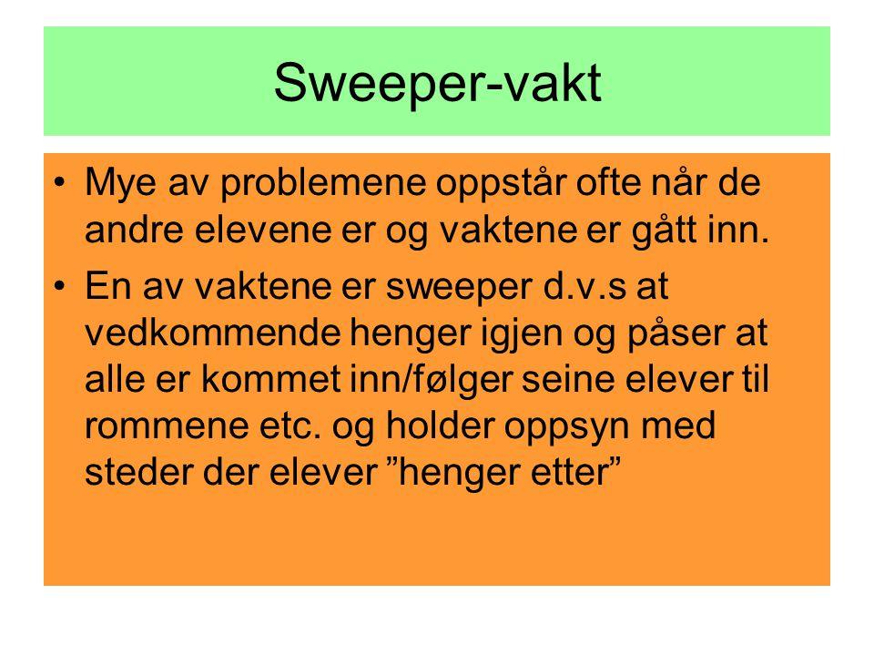 Sweeper-vakt Mye av problemene oppstår ofte når de andre elevene er og vaktene er gått inn.