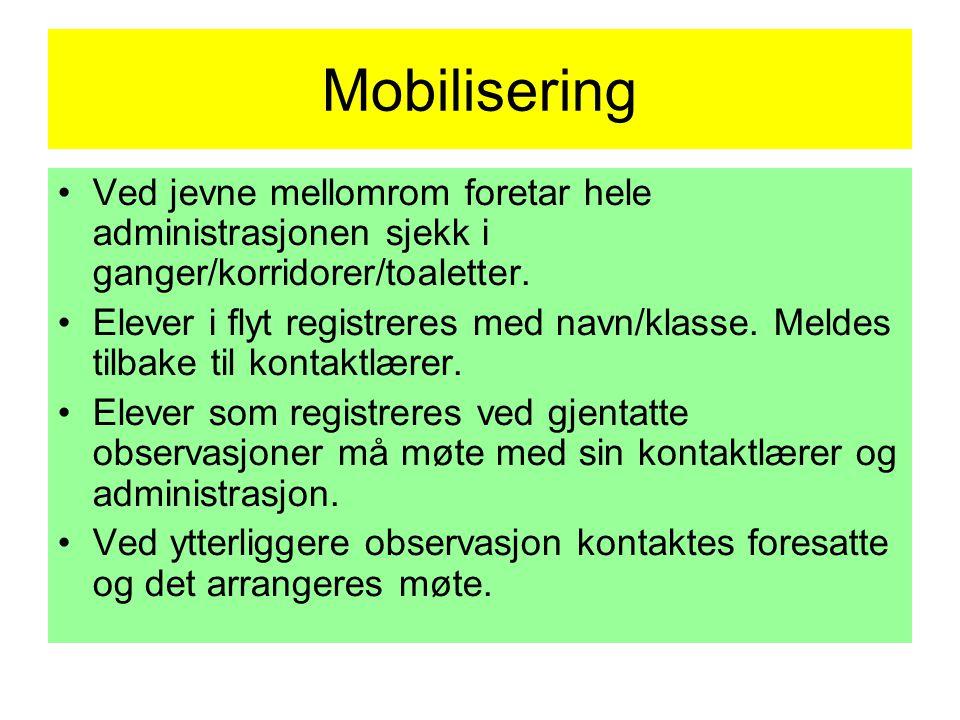 Mobilisering Ved jevne mellomrom foretar hele administrasjonen sjekk i ganger/korridorer/toaletter.