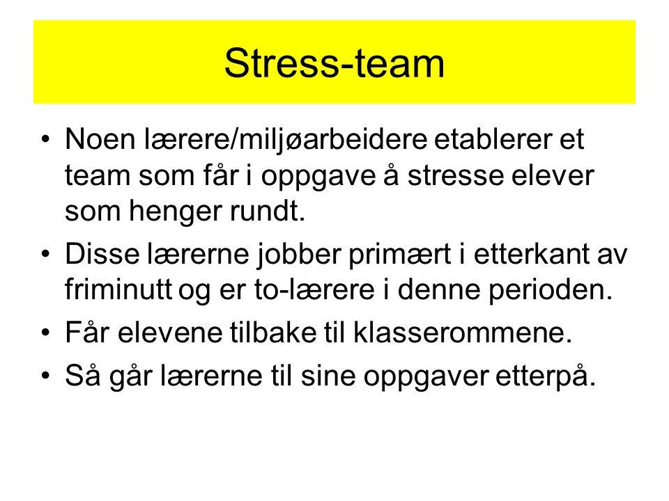 Stress-team Noen lærere/miljøarbeidere etablerer et team som får i oppgave å stresse elever som henger rundt.