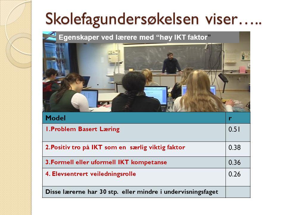Skolefagundersøkelsen viser…..