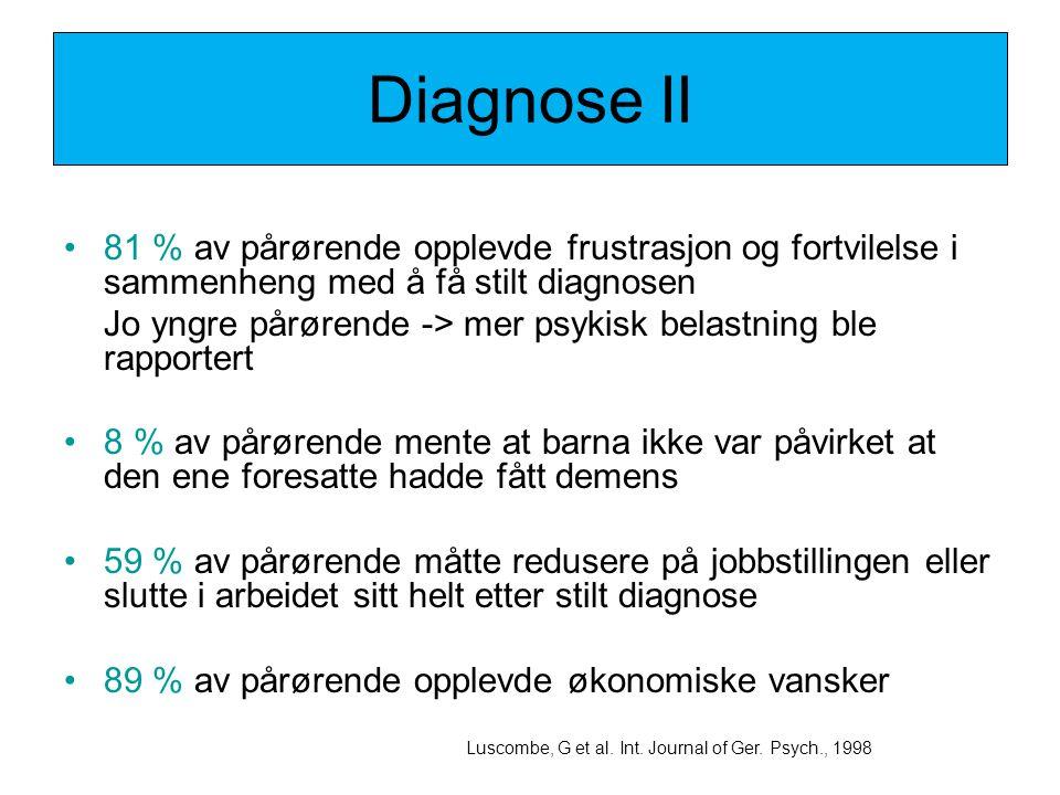 Diagnose II 81 % av pårørende opplevde frustrasjon og fortvilelse i sammenheng med å få stilt diagnosen.