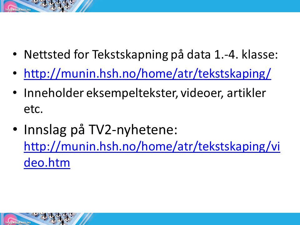 Nettsted for Tekstskapning på data 1.-4. klasse: