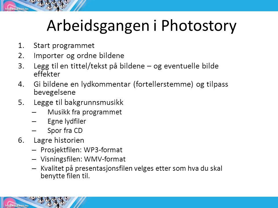 Arbeidsgangen i Photostory