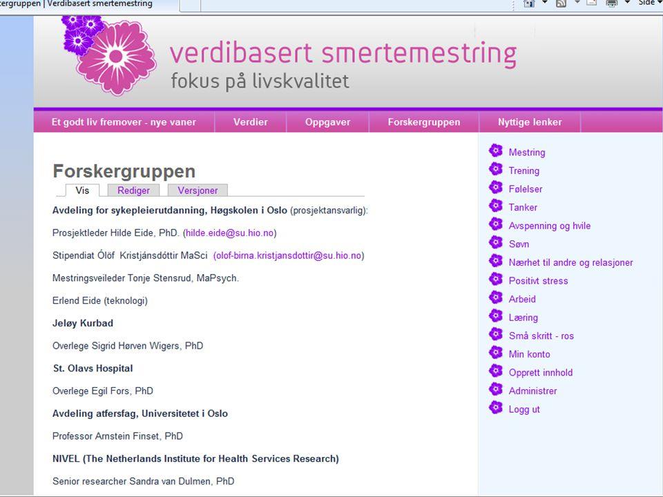 Nettside med informasjon og øvelser