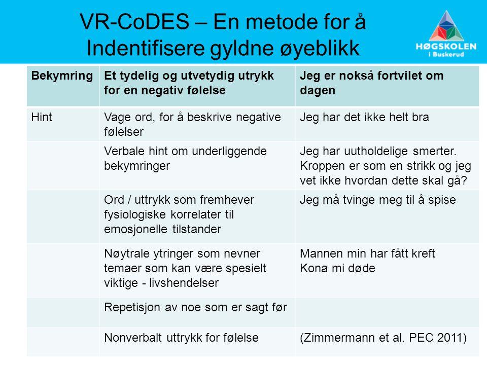 VR-CoDES – En metode for å Indentifisere gyldne øyeblikk