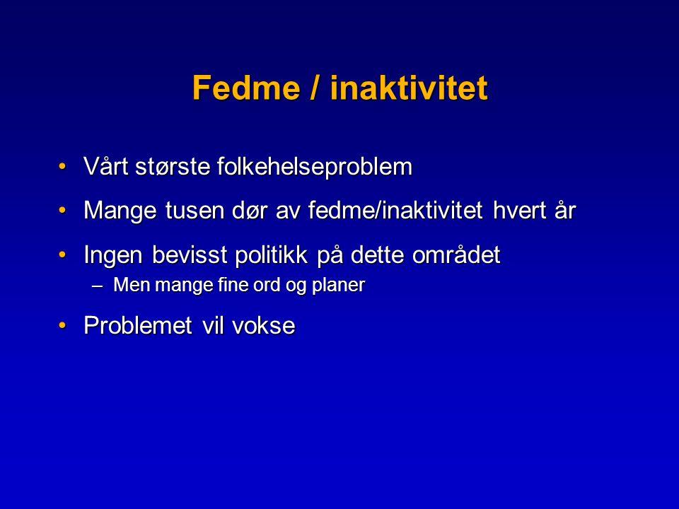 Fedme / inaktivitet Vårt største folkehelseproblem