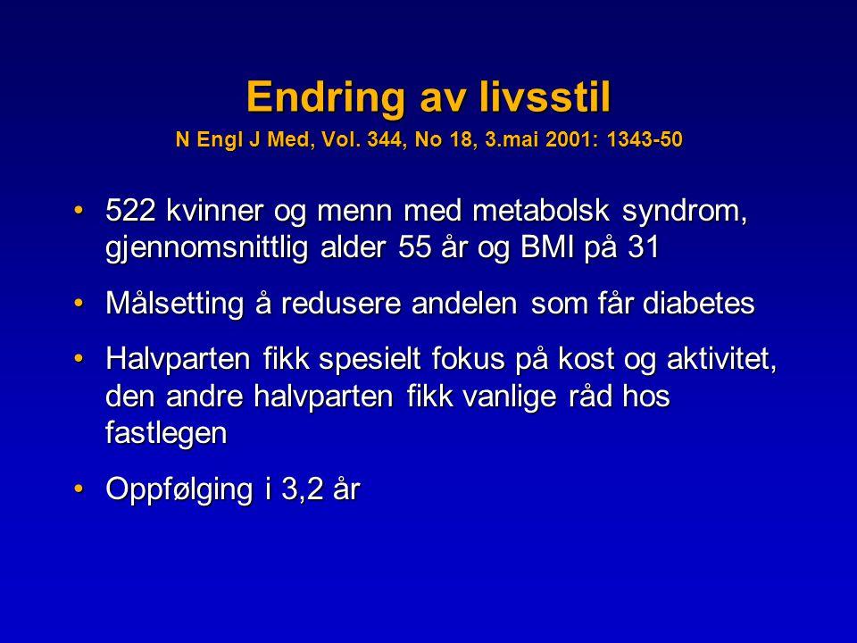Endring av livsstil N Engl J Med, Vol. 344, No 18, 3.mai 2001: 1343-50