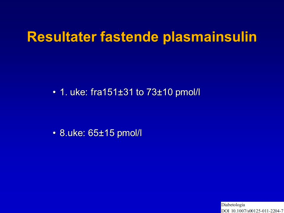 Resultater fastende plasmainsulin