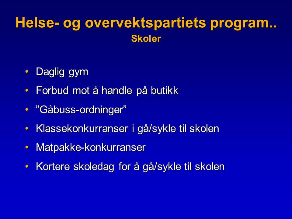 Helse- og overvektspartiets program.. Skoler