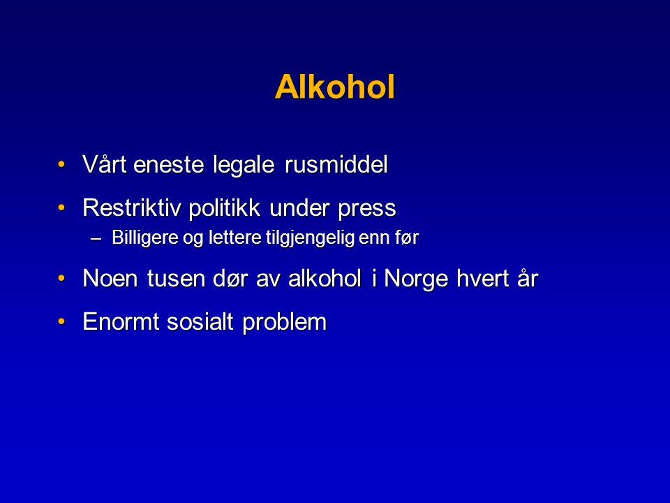 Alkohol Vårt eneste legale rusmiddel Restriktiv politikk under press
