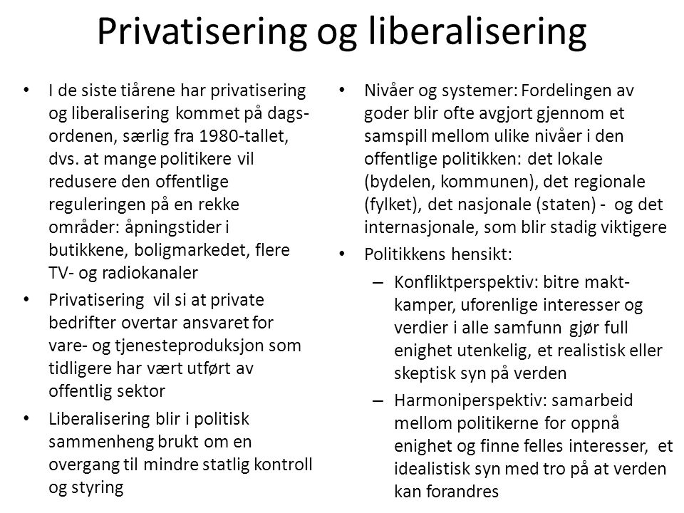 Privatisering og liberalisering