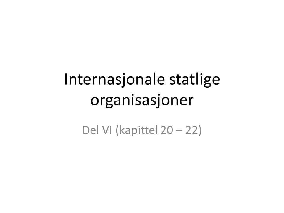 Internasjonale statlige organisasjoner