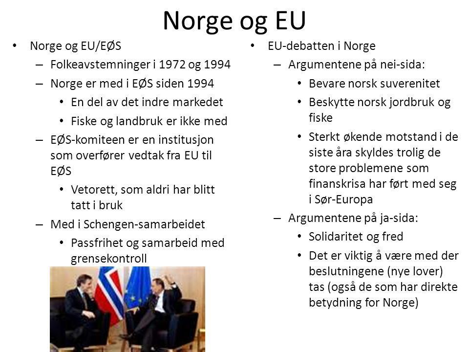 Norge og EU Norge og EU/EØS Folkeavstemninger i 1972 og 1994