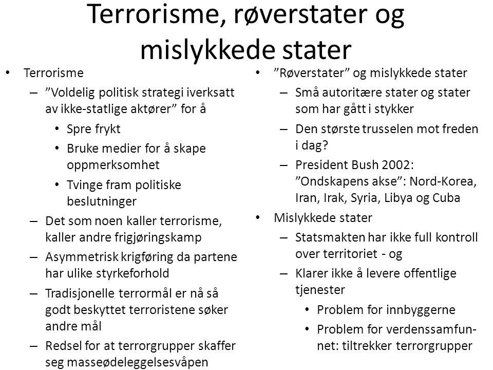 Terrorisme, røverstater og mislykkede stater
