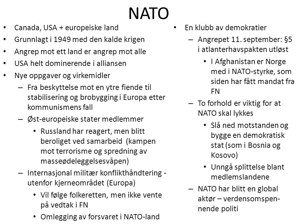 NATO Canada, USA + europeiske land