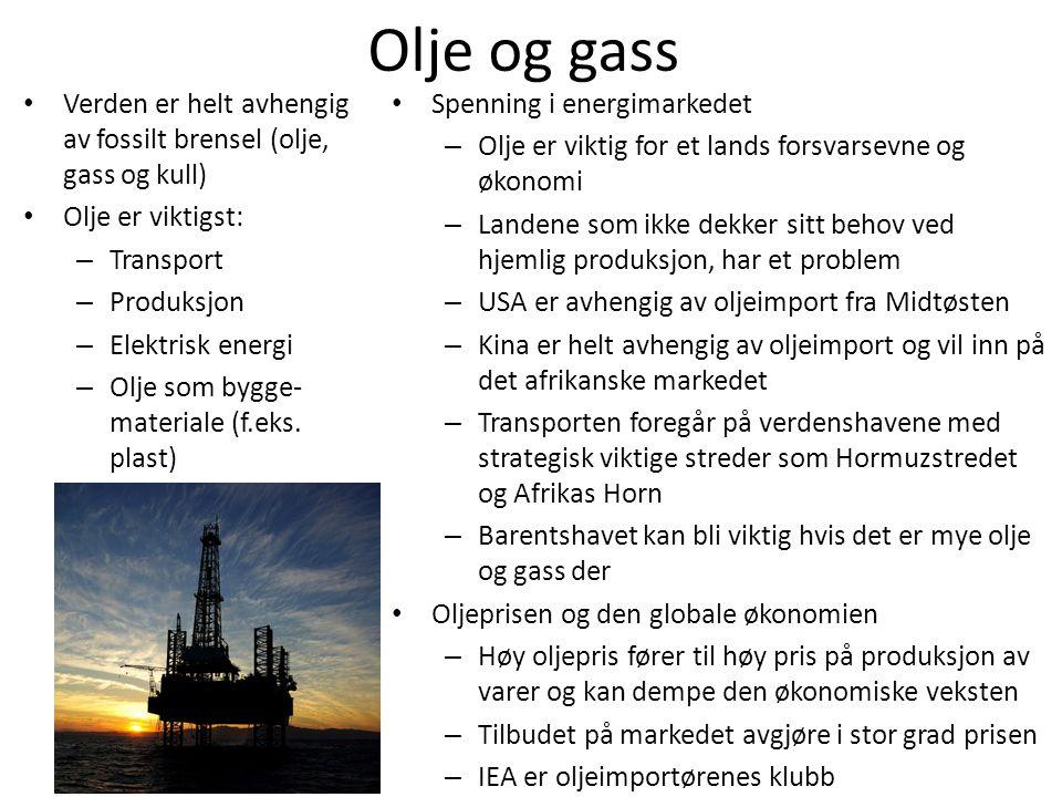 Olje og gass Verden er helt avhengig av fossilt brensel (olje, gass og kull) Olje er viktigst: Transport.