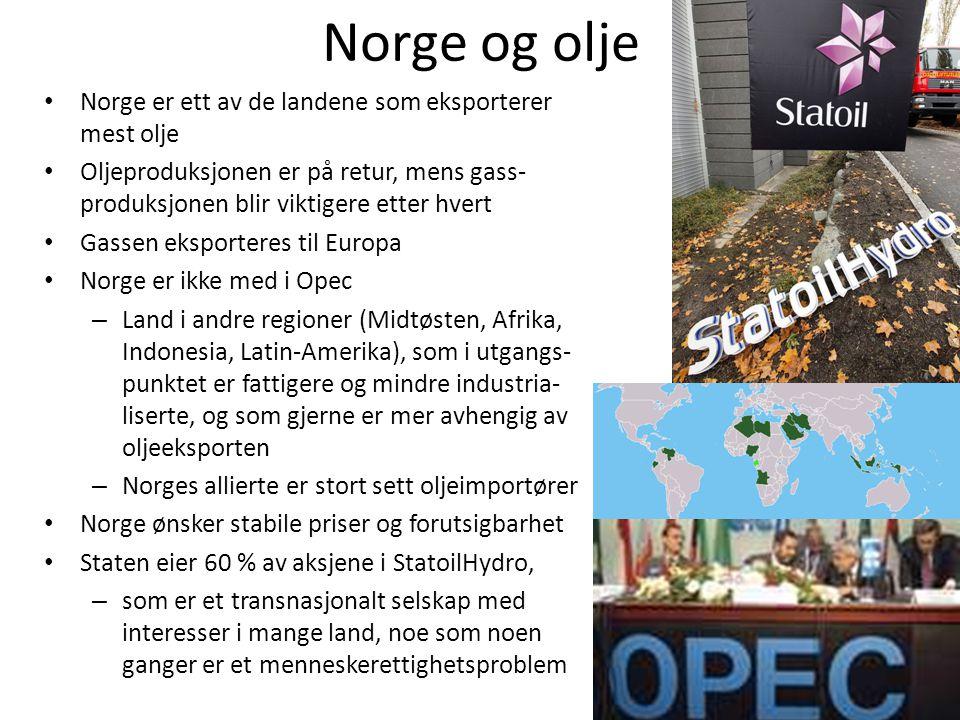 Norge og olje Norge er ett av de landene som eksporterer mest olje