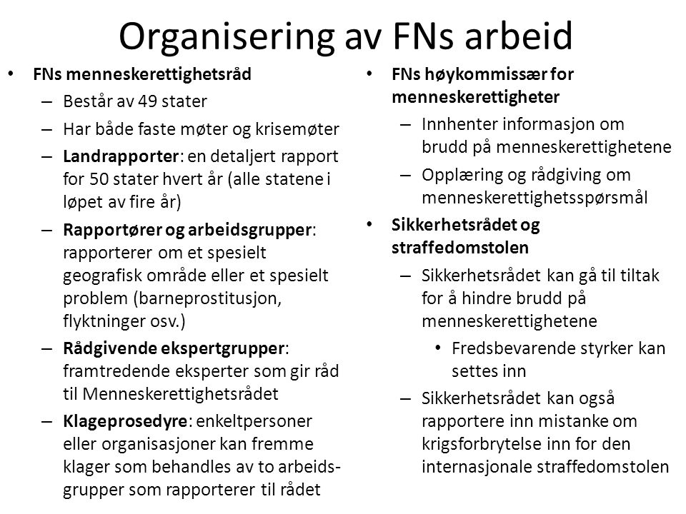 Organisering av FNs arbeid