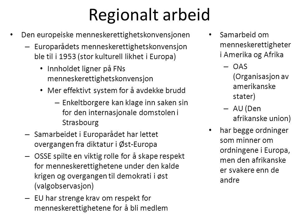 Regionalt arbeid Den europeiske menneskerettighetskonvensjonen
