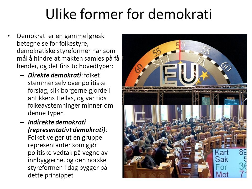Ulike former for demokrati