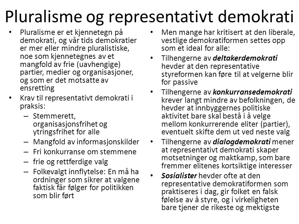 Pluralisme og representativt demokrati