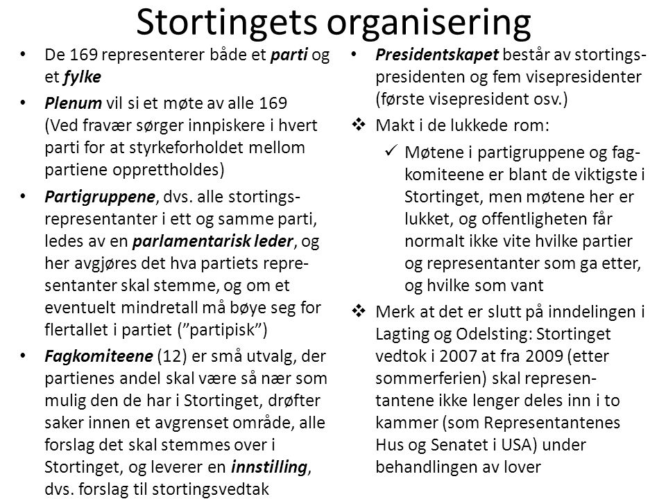 Stortingets organisering