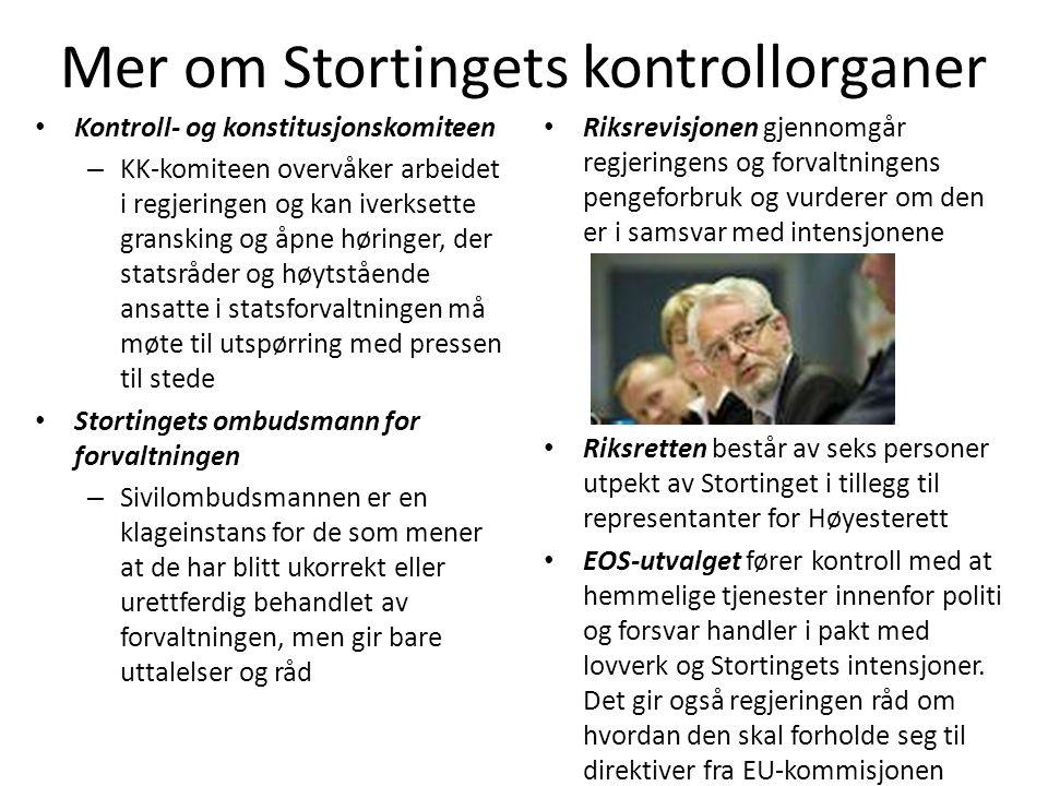 Mer om Stortingets kontrollorganer