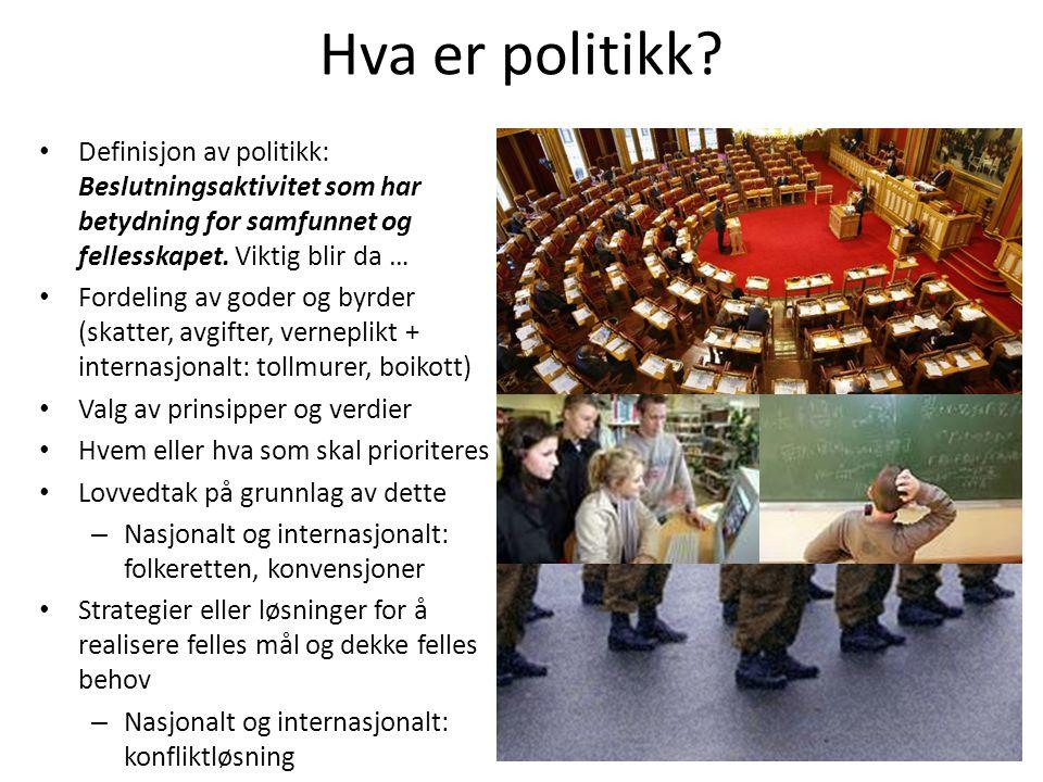 Hva er politikk Definisjon av politikk: Beslutningsaktivitet som har betydning for samfunnet og fellesskapet. Viktig blir da …