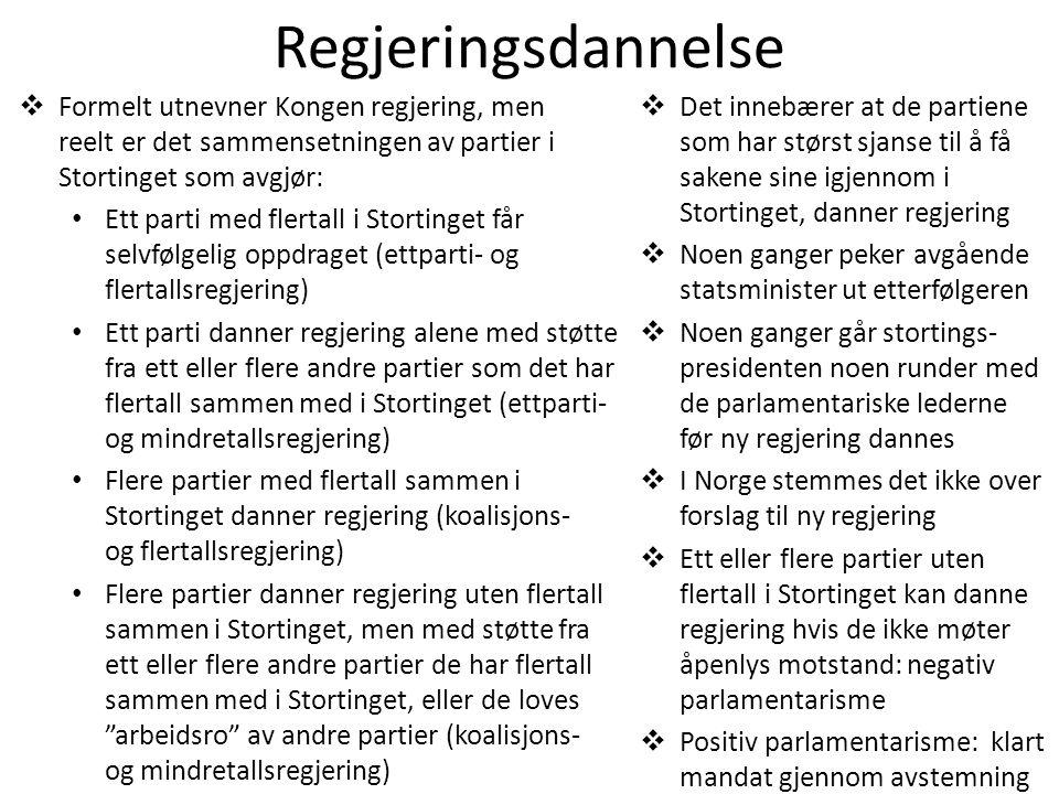 Regjeringsdannelse Formelt utnevner Kongen regjering, men reelt er det sammensetningen av partier i Stortinget som avgjør:
