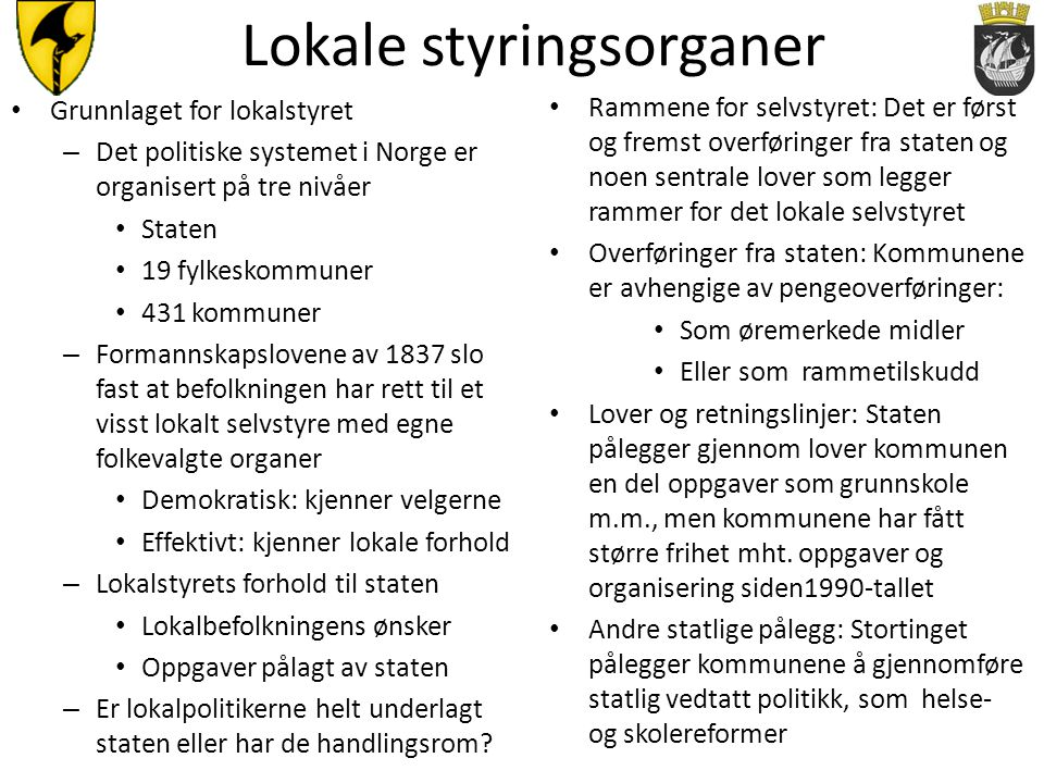 Lokale styringsorganer