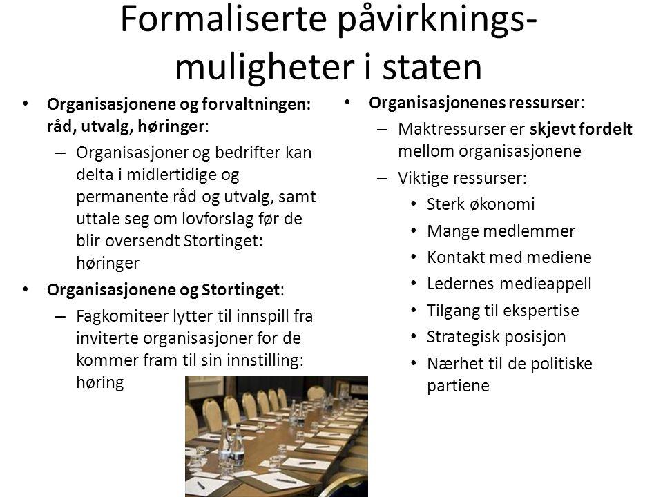 Formaliserte påvirknings-muligheter i staten