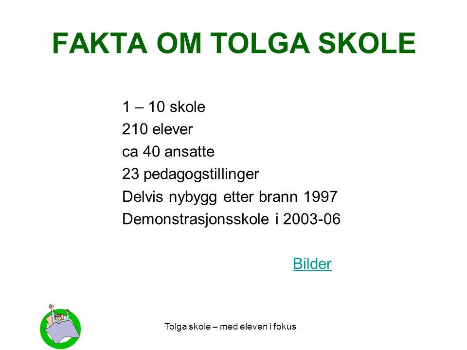 FAKTA OM TOLGA SKOLE 1 – 10 skole 210 elever ca 40 ansatte