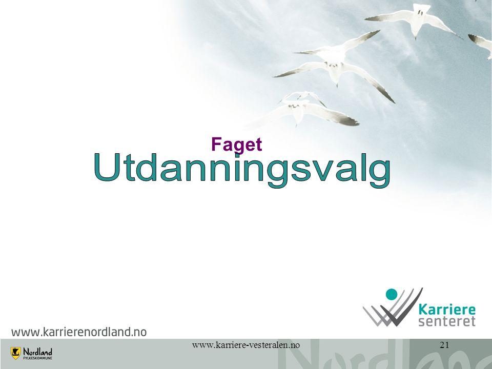 Faget Utdanningsvalg www.karriere-vesteralen.no 21