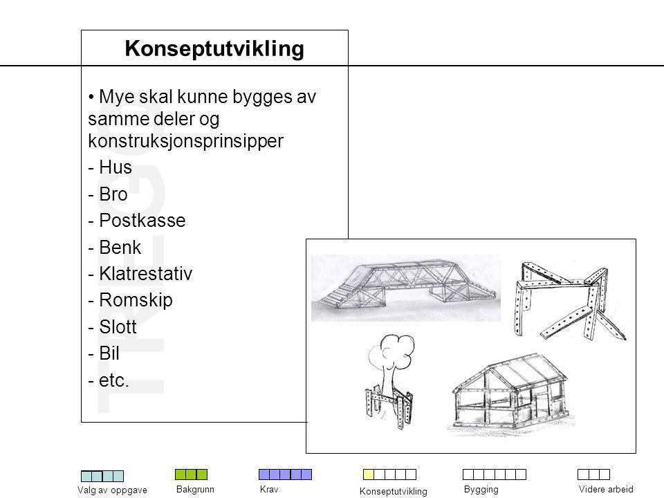 Konseptutvikling Mye skal kunne bygges av samme deler og konstruksjonsprinsipper. Hus. Bro. Postkasse.