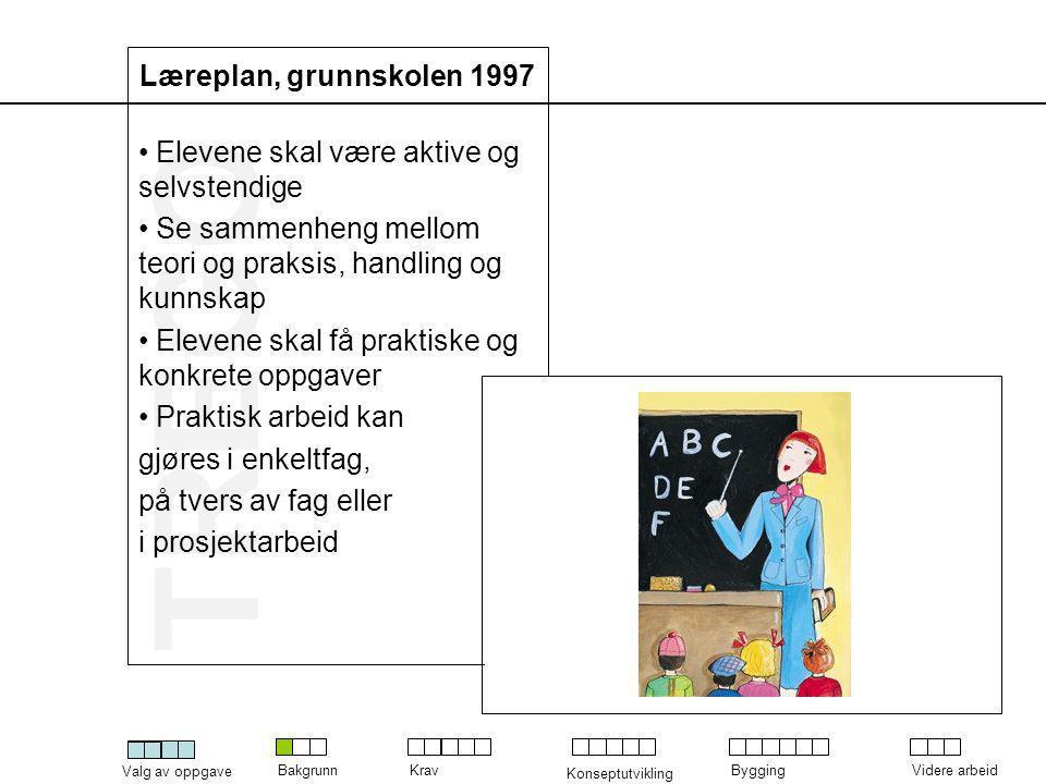 Læreplan, grunnskolen 1997 Elevene skal være aktive og selvstendige. Se sammenheng mellom teori og praksis, handling og kunnskap.